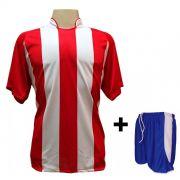 Uniforme Esportivo com 12 Camisas modelo Milan Vermelho/Branco + 12 Calções modelo Copa Royal/Branco