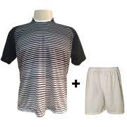 Uniforme Esportivo com 12 Camisas modelo City Preto/Branco + 12 Calções modelo Madrid Branco