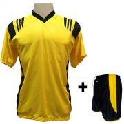 Uniforme Esportivo com 12 Camisas modelo Roma Amarelo/Preto + 12 Calções modelo Copa Preto/Amarelo