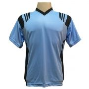 Jogo de Camisa com 12 unidades modelo Roma Celeste/Preto + 1 Camisa de Goleiro