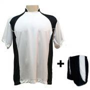 Uniforme Esportivo com 14 Camisas modelo Suécia Branco/Preto + 14 Calções modelo Copa Preto/Branco