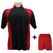 Uniforme Esportivo com 14 Camisas modelo Suécia Preto/Vermelho + 14 Calções modelo Madrid Vermelho