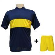 Uniforme Esportivo com 14 Camisas modelo Boca Juniors Marinho/Amarelo + 14 Calções modelo Madrid Amarelo