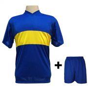 Uniforme Esportivo com 14 Camisas modelo Boca Juniors Royal/Amarelo + 14 Calções modelo Madrid Royal