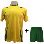 Uniforme Esportivo com 14 Camisas modelo Palermo Amarelo/Verde + 14 Calções modelo Madri Verde