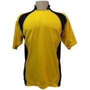 Jogo de Camisa com 14 unidades modelo Suécia Amarelo/Preto + 1 Camisa de Goleiro