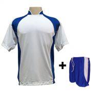 Uniforme Esportivo com 14 Camisas modelo Suécia Branco/Royal + 14 Calções modelo Copa Royal/Branco