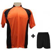 Uniforme Esportivo com 14 Camisas modelo Suécia Laranja/Preto + 14 Calções modelo Madrid Preto