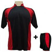 Uniforme Esportivo com 14 Camisas modelo Suécia Preto/Vermelho + 14 Calções modelo Copa Preto/Vermelho