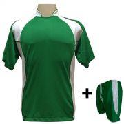 Uniforme Esportivo com 14 Camisas modelo Suécia Verde/Branco + 14 Calções modelo Copa Verde/Branco