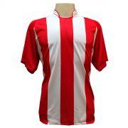 Jogo de Camisa com 18 unidades modelo Milan Vermelho/Branco