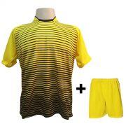 Uniforme Esportivo com 18 Camisas modelo City Amarelo/Preto + 18 Calções modelo Madrid Amarelo