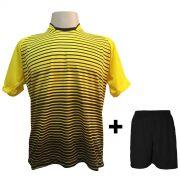 Uniforme Esportivo com 18 Camisas modelo City Amarelo/Preto + 18 Calções modelo Madrid Preto