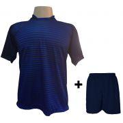 Uniforme Esportivo com 18 Camisas modelo City Marinho/Royal + 18 Calções modelo Madrid Marinho
