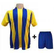 Uniforme Esportivo com 18 Camisas modelo Milan Amarelo/Royal + 18 Calções modelo Madrid Royal