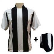 Uniforme Esportivo com 18 Camisas modelo Milan Branco/Preto + 18 Calções modelo Copa Preto/Branco