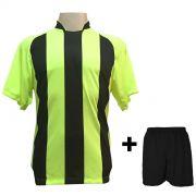 Uniforme Esportivo com 18 Camisas modelo Milan Limão/Preto + 18 Calções modelo Madrid Preto