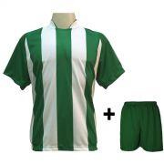 Uniforme Esportivo com 18 Camisas modelo Milan Verde/Branco + 18 Calções modelo Madrid Verde + Brindes