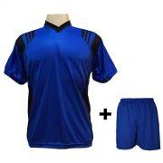 Uniforme Esportivo com 18 Camisas modelo Roma Royal/Preto + 18 Calções modelo Madrid Royal