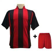 Uniforme Esportivo com 20 Camisas modelo Milan Preto/Vermelho + 20 Calções modelo Madrid Vermelho
