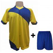 Uniforme Esportivo com 20 Camisas modelo Bélgica Amarelo/Royal + 20 Calções modelo Madrid Royal