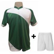 Uniforme Esportivo com 20 Camisas modelo Bélgica Verde/Branco + 20 Calções modelo Madrid Branco