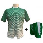 Uniforme Esportivo com 12 Camisas modelo City Verde/Branco + 12 Calções modelo Copa Verde/Branco