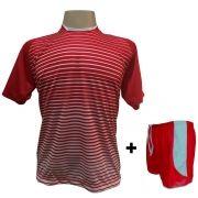 Uniforme Esportivo com 12 Camisas modelo City Vermelho/Branco + 12 Calções modelo Copa Vermelho/Branco