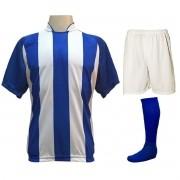 Uniforme Esportivo com 20 camisas modelo Milan Royal/Branco + 20 calções modelo Madrid Branco + 20 pares de meiões Royal
