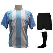 Uniforme Esportivo com 12 Camisas modelo Milan Celeste/Branco + 12 Calções modelo Madrid Preto + 12 Pares de meiões Preto