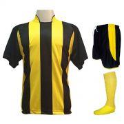 Uniforme Esportivo com 12 Camisas modelo Milan Preto/Amarelo + 12 Calções modelo Copa Preto/Amarelo + 12 Pares de meiões Amarelo