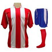 Uniforme Esportivo com 12 Camisas modelo Milan Vermelho/Branco + 12 Calções modelo Copa Royal/Branco + 12 Pares de meiões Vermelho
