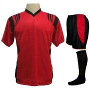 Uniforme Esportivo com 12 Camisas modelo Roma Vermelho/Preto + 12 Calções modelo Copa Preto/Vermelho + 12 Pares de meiões Preto
