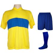 Uniforme Esportivo com 14 camisas modelo Boca Juniors Amarelo/Royal + 14 calções modelo Madrid Royal + 1 pares de meiões Royal