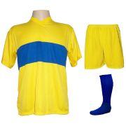 Uniforme Esportivo com 14 camisas modelo Boca Juniors Amarelo/Royal + 14 calções modelo Madrid Amarelo + 14 pares de meiões Royal