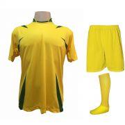 Uniforme Esportivo com 14 camisas modelo Palermo Amarelo/Verde + 14 calções modelo Madrid Amarelo + 14 pares de meiões Amarelo