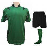 Uniforme Esportivo com 14 camisas modelo Palermo Verde/Preto + 14 calções modelo Madrid Preto + 14 pares de meiões Verde + Brindes