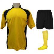 Uniforme Esportivo com 14 camisas modelo Suécia Amarelo/Preto + 14 calções modelo Madrid Preto + 14 pares de meiões Amarelo