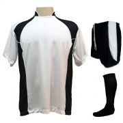 Uniforme Esportivo com 14 camisas modelo Suécia Branco/Preto + 14 calções modelo Copa Preto/Branco + 14 pares de meiões Preto