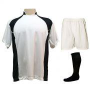 Uniforme Esportivo com 14 camisas modelo Suécia Branco/Preto + 14 calções modelo Madrid Branco + 14 pares de meiões Preto