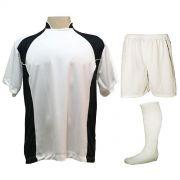 Uniforme Esportivo com 14 camisas modelo Suécia Branco/Preto + 14 calções modelo Madrid Branco + 14 pares de meiões Branco