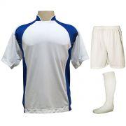 Uniforme Esportivo com 14 camisas modelo Suécia Branco/Royal + 14 calções modelo Madrid Branco + 14 pares de meiões Branco