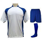 Uniforme Esportivo com 14 camisas modelo Suécia Branco/Royal + 14 calções modelo Madrid Royal + 14 pares de meiões Royal