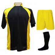 Uniforme Esportivo com 14 camisas modelo Suécia Preto/Amarelo + 14 calções modelo Madrid Amarelo + 14 pares de meiões Preto