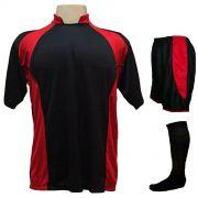Uniforme Esportivo com 14 camisas modelo Suécia Preto/Vermelho + 14 calções modelo Copa Preto/Vermelho + 14 pares de meiões Preto