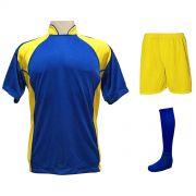 Uniforme Esportivo com 14 camisas modelo Suécia Royal/Amarelo + 14 calções modelo Madrid Amarelo + 14 pares de meiões Royal