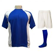 Uniforme Esportivo com 14 camisas modelo Suécia Royal/Branco + 14 calções modelo Madrid Branco + 14 pares de meiões Royal