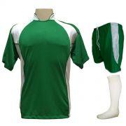 Uniforme Esportivo com 14 camisas modelo Suécia Verde/Branco + 14 calções modelo Copa Verde/Branco + 14 pares de meiões Branco i