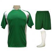 Uniforme Esportivo com 14 camisas modelo Suécia Verde/Branco + 14 calções modelo Madrid Verde + 14 pares de meiões Branco