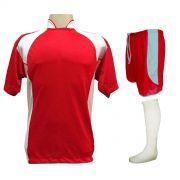 Uniforme Esportivo com 14 camisas modelo Suécia Vermelho/Branco + 14 calções modelo Copa Vermelho/Branco + 14 pares de meiões Branco
